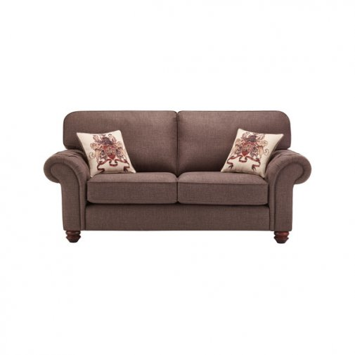 Sandringham 2 Seater High Back Sofa in Brown with Beige Scatter