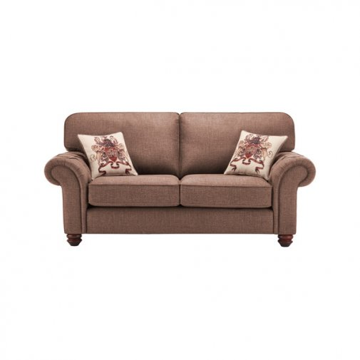Sandringham 2 Seater High Back Sofa in Coffee with Dark Brown Scatters
