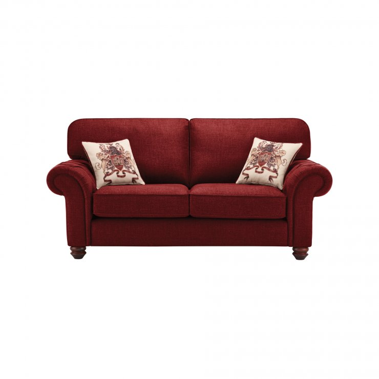 Sandringham 2 Seater High Back Sofa in Red with Red Scatters - Image 1