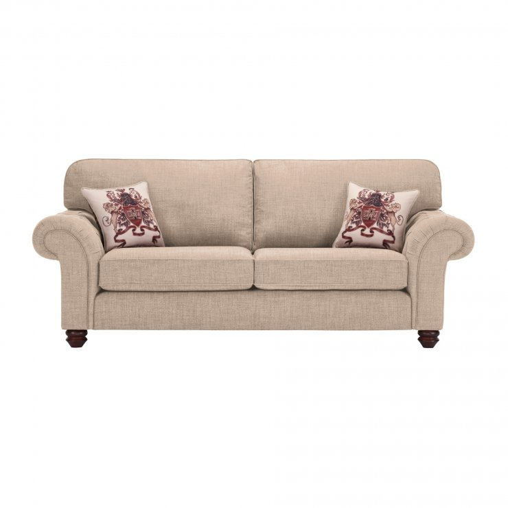 Sandringham 3 Seater High Back Sofa in Beige with Beige Scatter