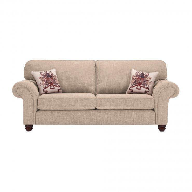 Sandringham 3 Seater High Back Sofa in Beige with Beige Scatter - Image 1