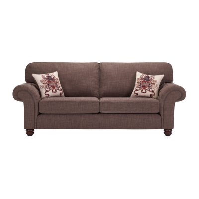 Sandringham 3 Seater High Back Sofa in Brown with Beige Scatter