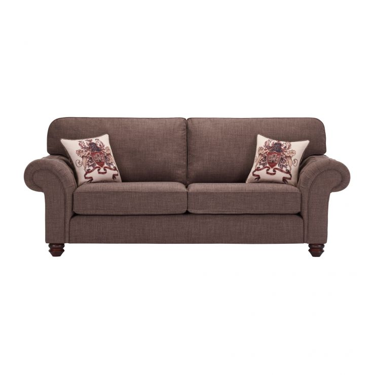 Sandringham 3 Seater High Back Sofa in Brown with Beige Scatter - Image 1