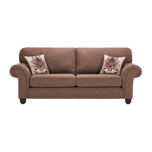 Sandringham 3 Seater High Back Sofa in Coffee with Dark Brown Scatters