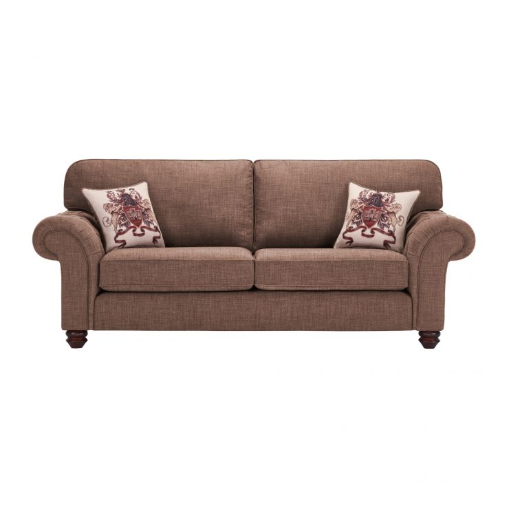 Sandringham 3 Seater High Back Sofa in Coffee with Dark Brown Scatters - Image 1