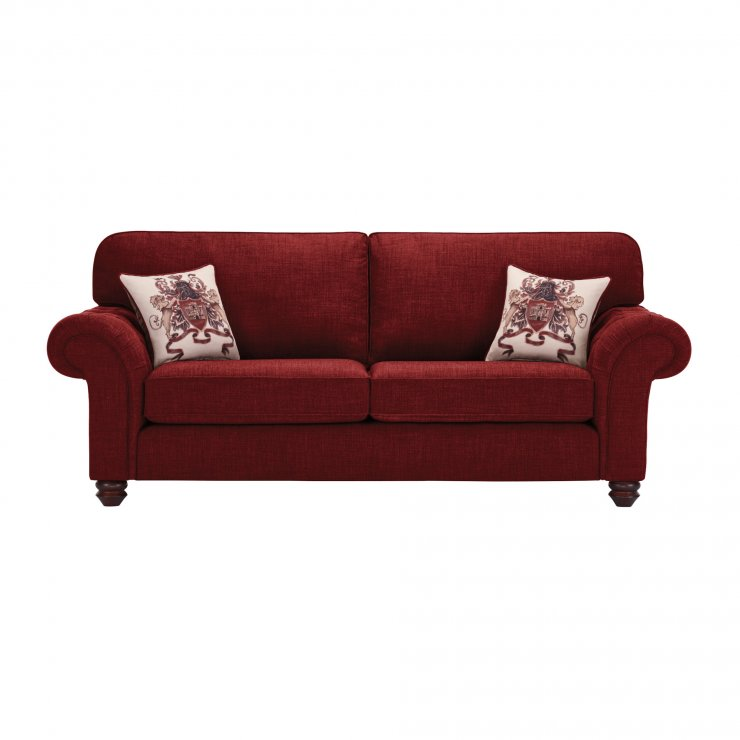 Sandringham 3 Seater High Back Sofa in Red with Red Scatters - Image 1