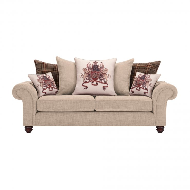 Sandringham 3 Seater Pillow Back Sofa in Beige with Beige and Brown Scatters - Image 1