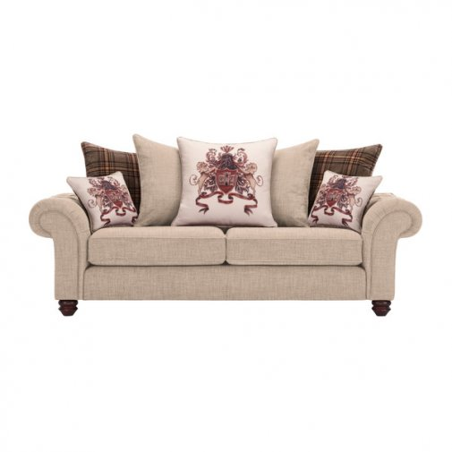 Sandringham 3 Seater Pillow Back Sofa in Beige with Beige and Brown Scatters