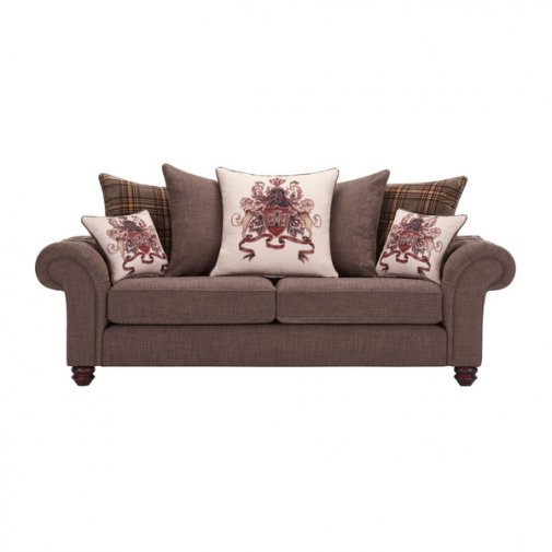 Sandringham 3 Seater Pillow Back Sofa in Brown with Beige and Brown Scatters