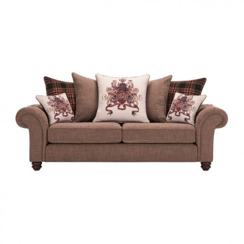 Sandringham 3 Seater Pillow Back Sofa in Coffee with Dark Brown Scatters