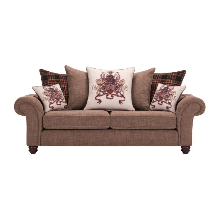 Sandringham 3 Seater Pillow Back Sofa in Coffee with Dark Brown Scatters - Image 1