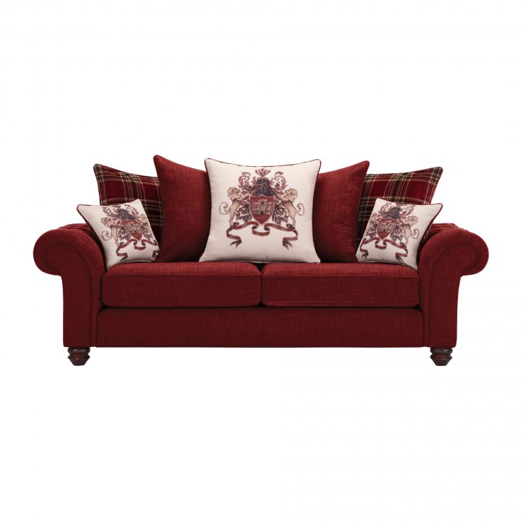 Sandringham 3 Seater Pillow Back Sofa in Red with Red Scatters - Image 1