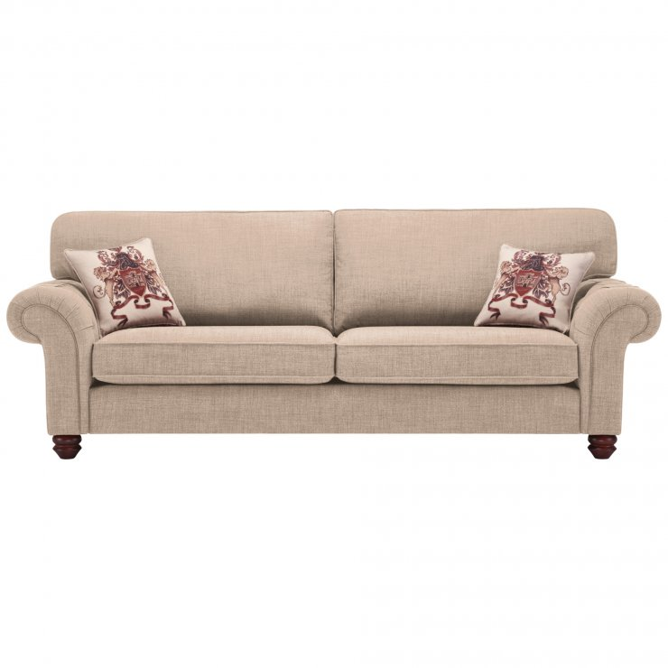 Sandringham 4 Seater High Back Sofa in Beige with Beige Scatter - Image 1