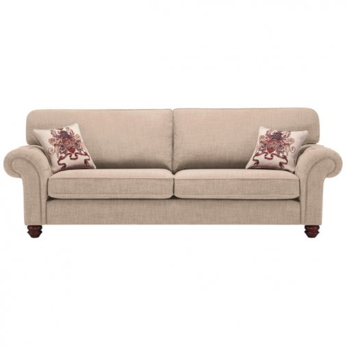 Sandringham 4 Seater High Back Sofa in Beige with Beige Scatter