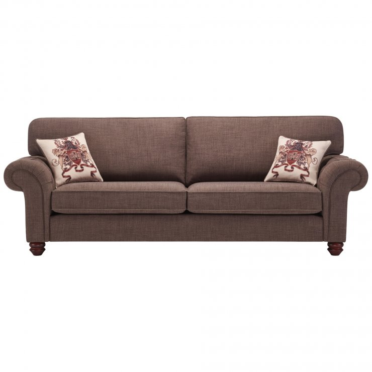 Sandringham 4 Seater High Back Sofa in Brown with Beige Scatter - Image 1