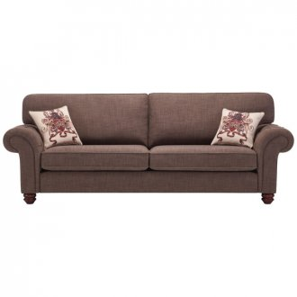 Sandringham 4 Seater High Back Sofa in Brown with Beige Scatter