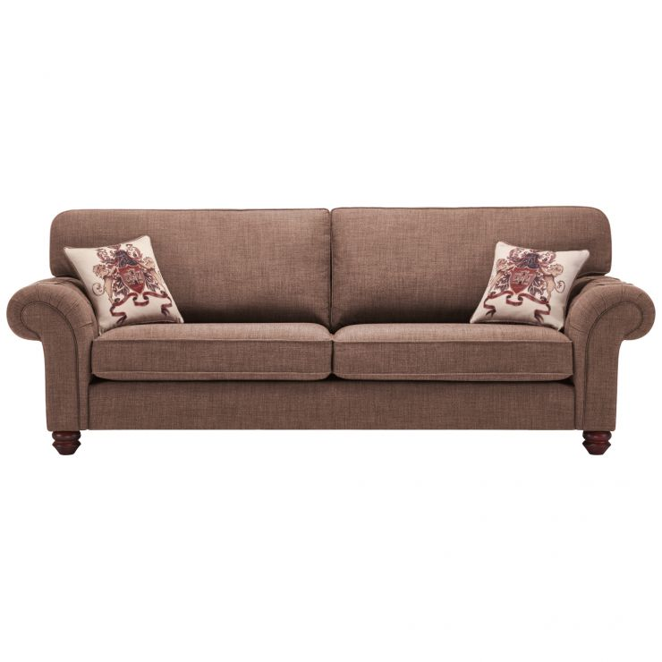 Sandringham 4 Seater High Back Sofa in Coffee with Dark Brown Scatter - Image 1