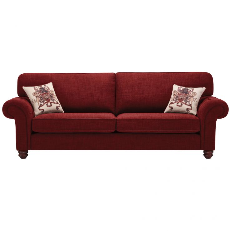 Sandringham 4 Seater High Back Sofa in Red with Red Scatter - Image 1