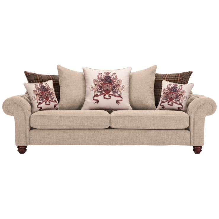 Sandringham 4 Seater Pillow Back Sofa in Beige with Beige and Brown Scatters - Image 1
