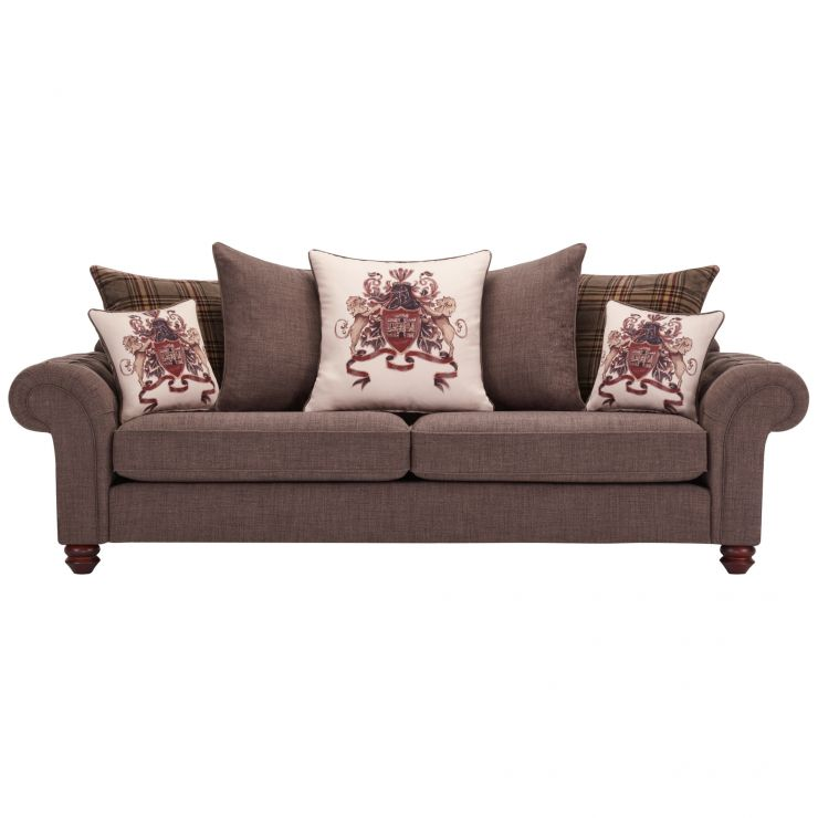 Sandringham 4 Seater Pillow Back Sofa in Brown with Beige and Brown Scatters - Image 1
