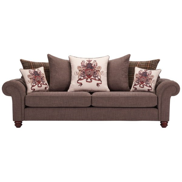 Sandringham 4 Seater Pillow Back Sofa in Brown with Beige and Brown Scatters