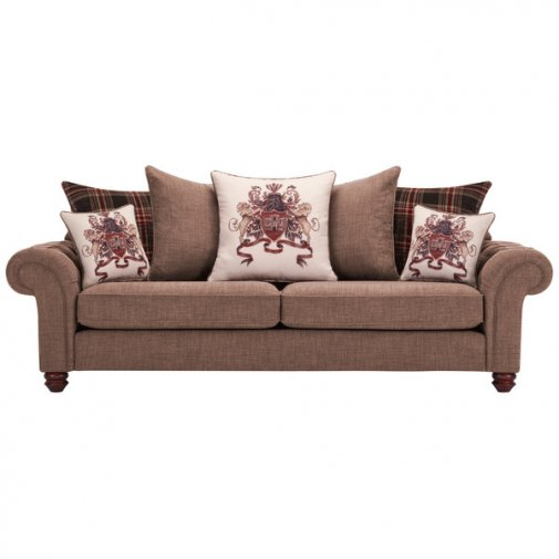 Sandringham 4 Seater Pillow Back Sofa in Coffee with Dark Brown Scatters