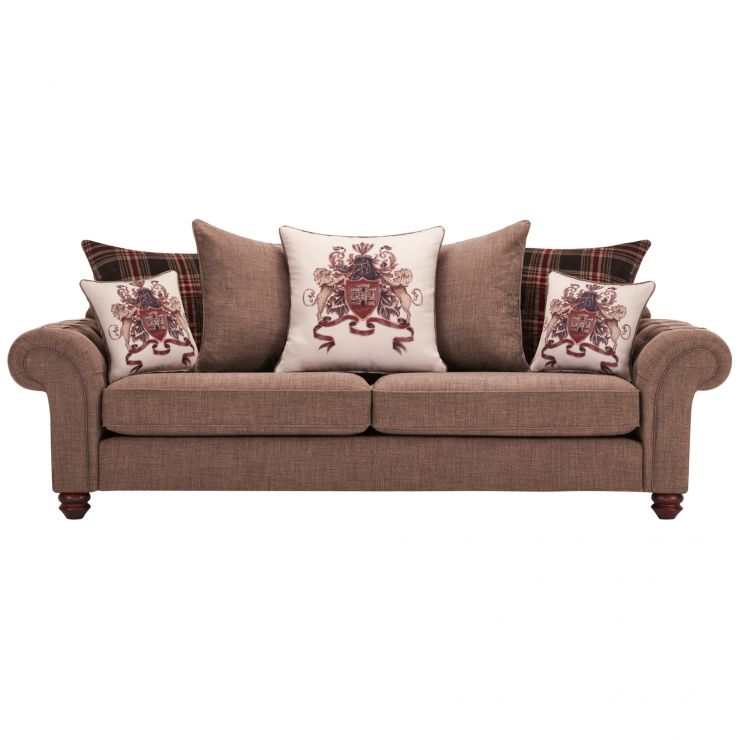 Sandringham 4 Seater Pillow Back Sofa in Coffee with Dark Brown Scatters - Image 1