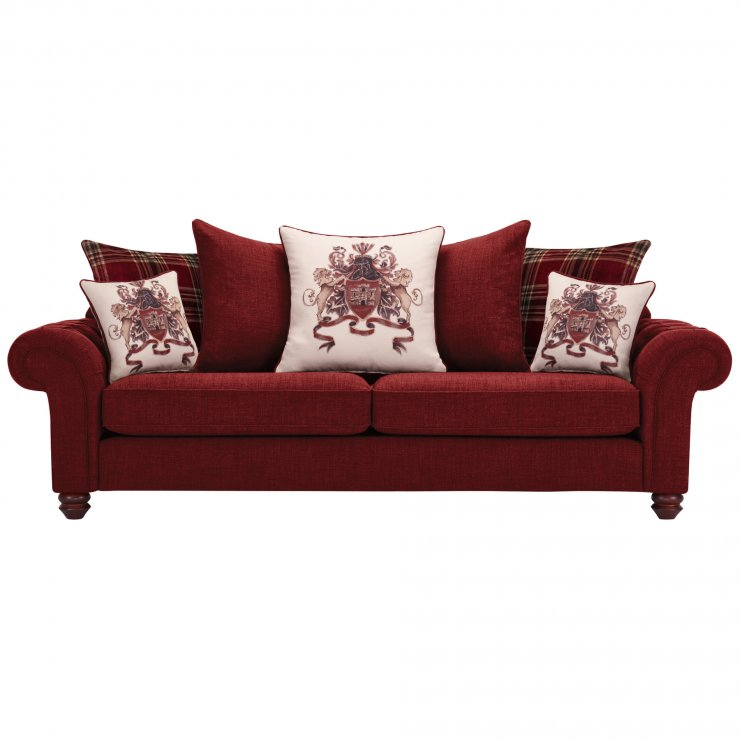Sandringham 4 Seater Pillow Back Sofa in Red with Red Scatters - Image 1