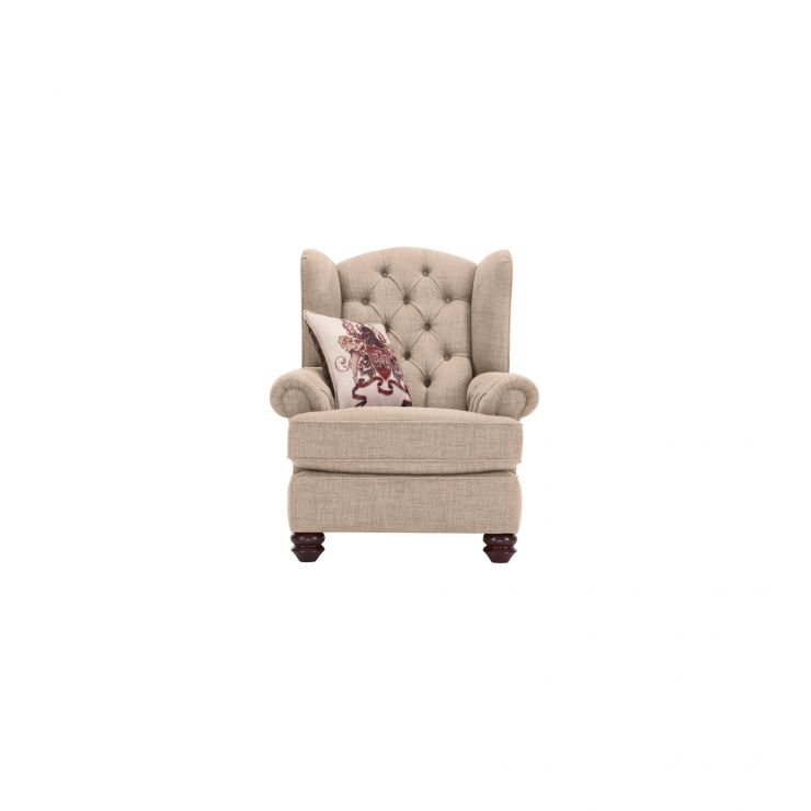 Sandringham Wing Chair in Beige with Beige Scatter - Image 1