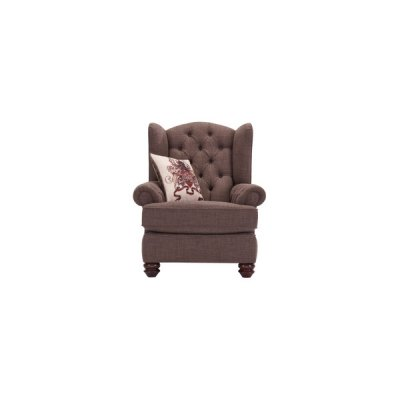 Sandringham Wing Chair in Brown with Beige Scatter