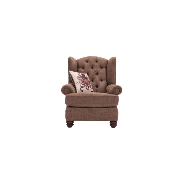 Sandringham Wing Chair in Coffee with Dark Brown Scatter - Image 1