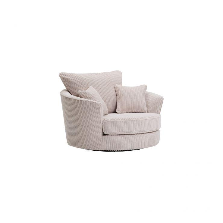 Sasha Swivel Chair in Ivory Fabric - Image 9