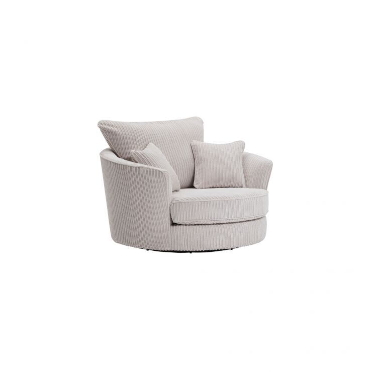 Sasha Swivel Chair in Silver Fabric - Image 8