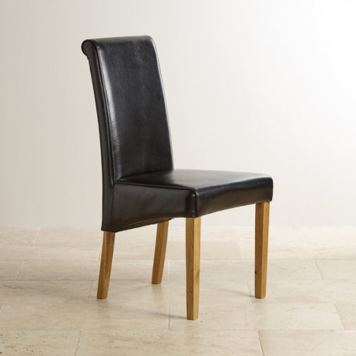 Scroll Back Black Leather Chair with Solid Oak Legs