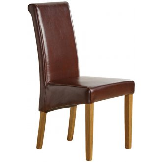 Scroll Back Brown Leather Chair with Solid Oak Legs