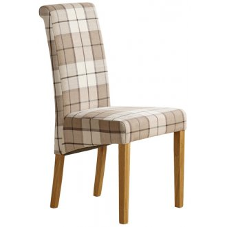 Scroll Back Check Brown Fabric Chair with Solid Oak Legs