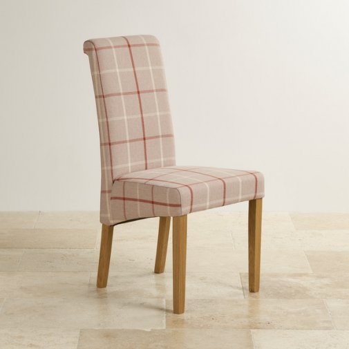 Scroll Back Check Natural Fabric Chair with Solid Oak Legs
