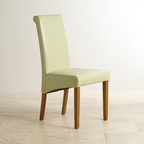 Scroll Back Cream Leather Chair with Solid Oak Legs