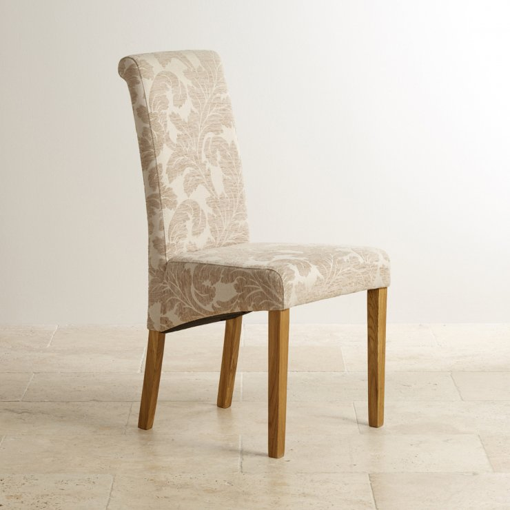 Scroll Back Patterned Beige Fabric Chair with Solid Oak Legs - Image 5