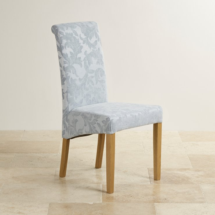 Scroll Back Patterned Duck Egg Fabric Chair with Solid Oak Legs