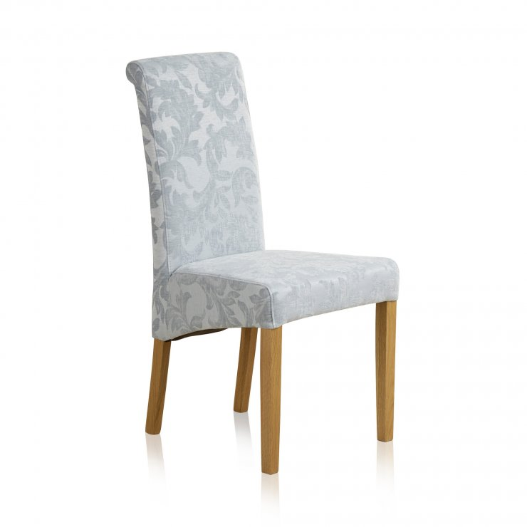 Scroll Back Patterned Duck Egg Fabric Chair with Solid Oak Legs - Image 3