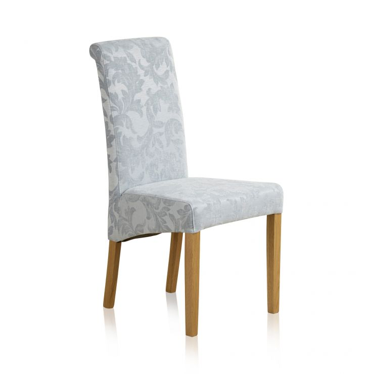 Scroll Back Patterned Duck Egg Fabric Chair with Solid Oak Legs - Image 4
