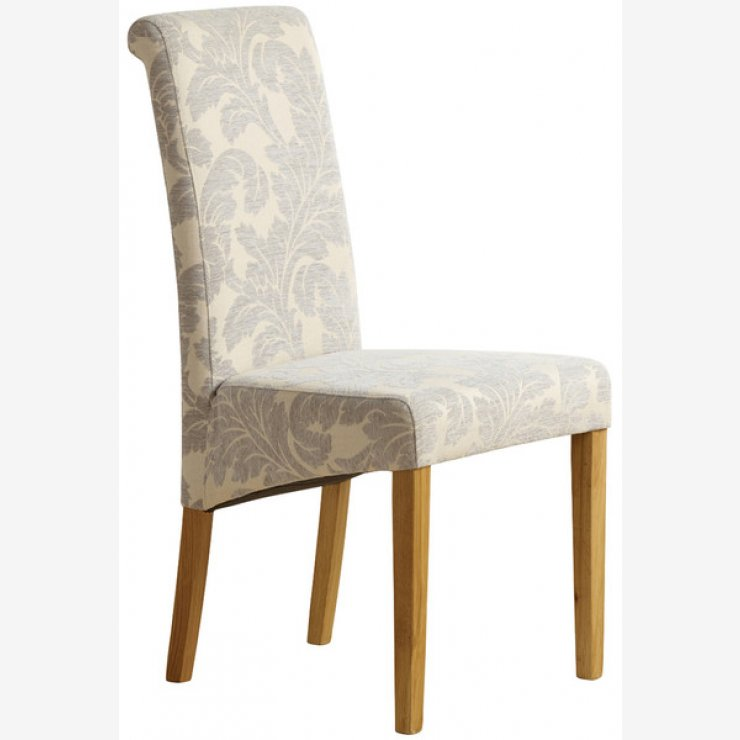 Scroll Back Patterned Grey Fabric Chair with Solid Oak Legs - Image 4