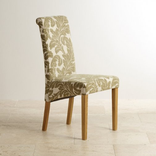 Scroll Back Patterned Sage Fabric Chair with Solid Oak Legs