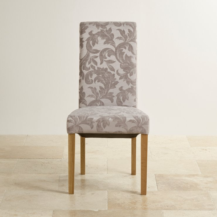 Scroll Back Patterned Silver Fabric Chair with Solid Oak Legs