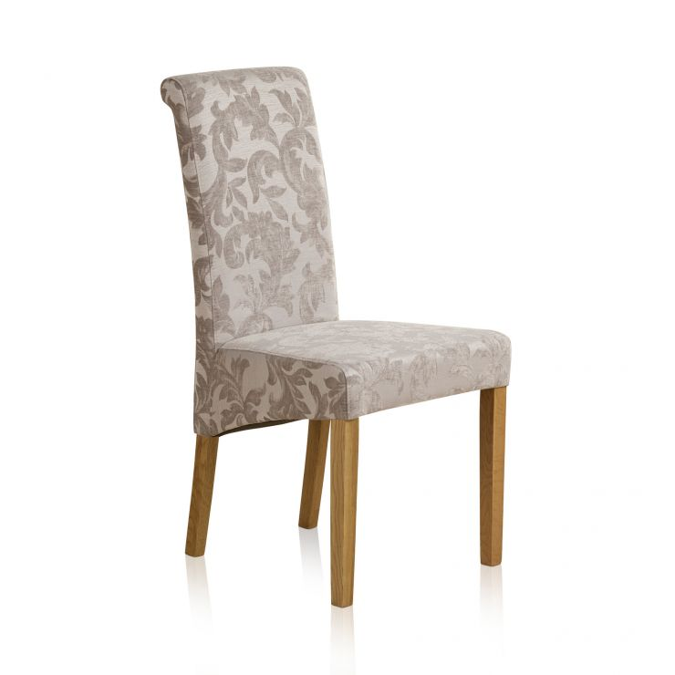 Scroll Back Patterned Silver Fabric Chair with Solid Oak Legs - Image 4