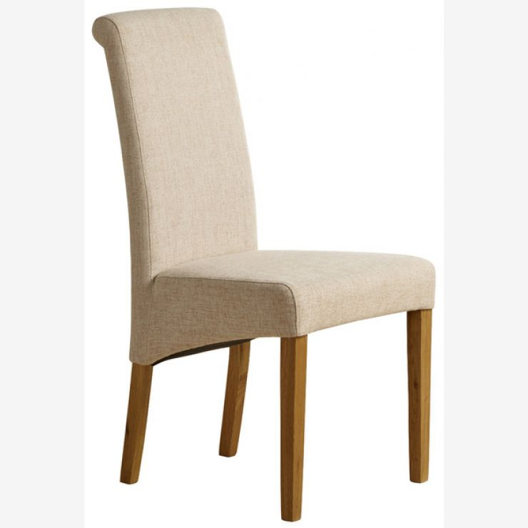 Scroll Back Plain Beige Fabric Chair with Solid Oak Legs - Image 6