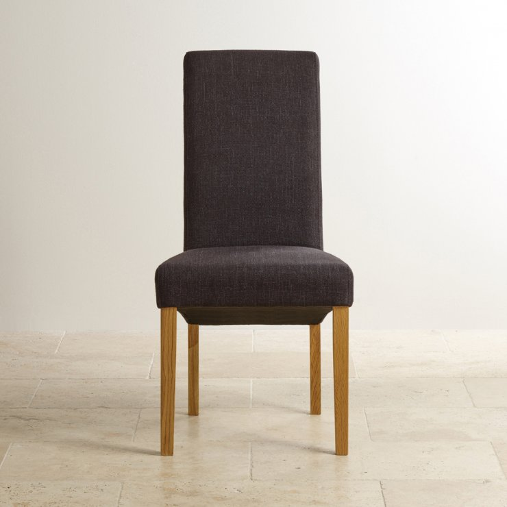 Scroll Back Plain Black Fabric Chair with Solid Oak Legs