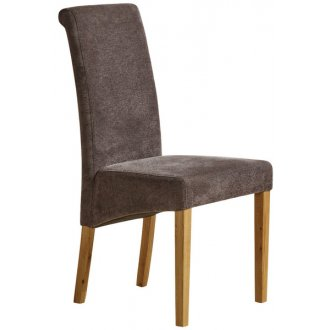 Scroll Back Plain Charcoal Fabric Chair with Solid Oak Legs