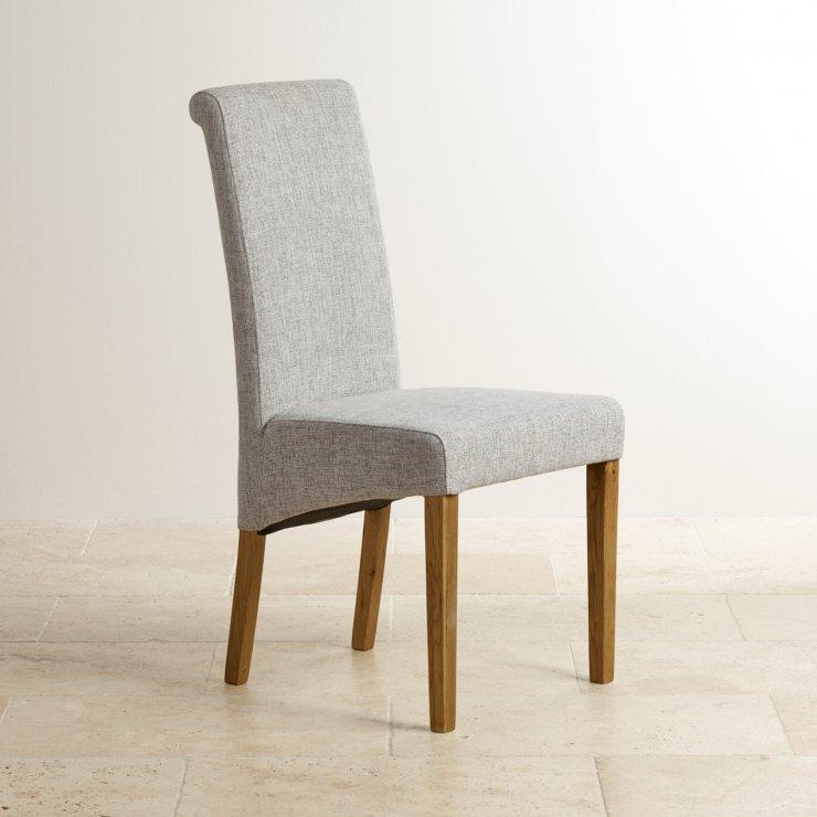 Scroll Back Plain Grey Fabric Chair with Solid Oak Legs